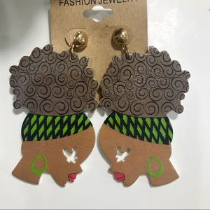 CUTE Afro Wooden Earrings
